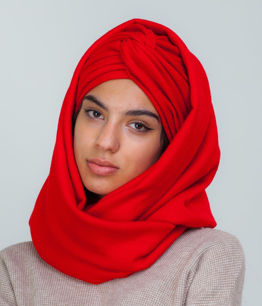 Тюрбан+шарф красный