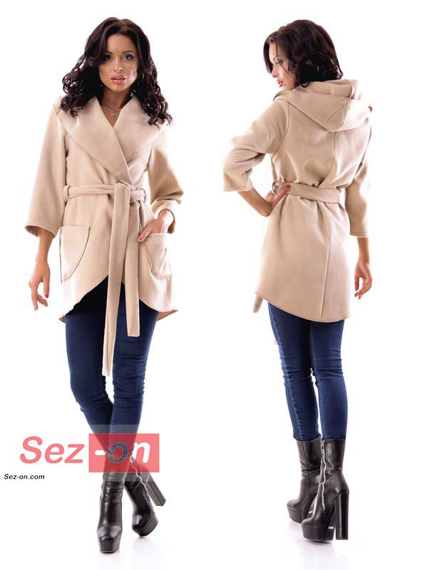 Пальто-накидка жіноча з капюшоном ― Бежевий