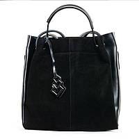 Женская сумка с клатчем внутри из натуральной кожи и замши черного  цвета