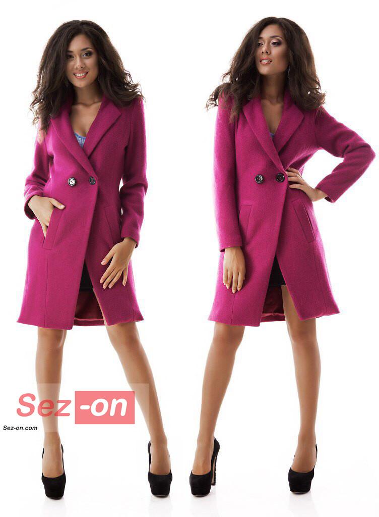 Пальто жіноче до колін з кишенями ― Малиновий