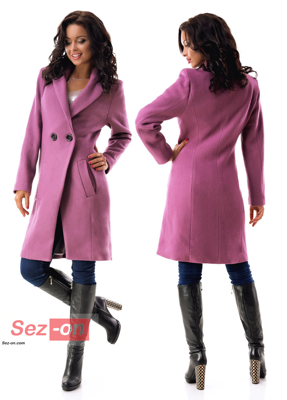 Пальто жіноче до колін з кишенями ― Бузковий