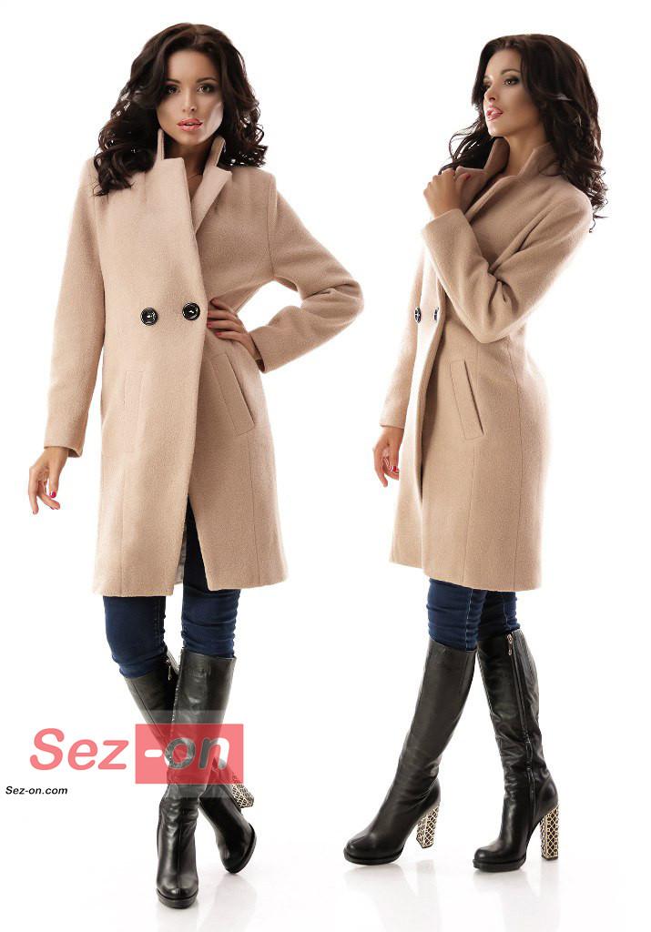Пальто жіноче до колін з кишенями ― Бежевий