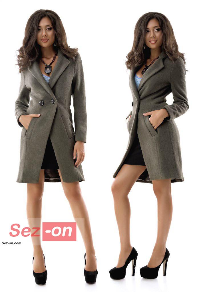 Пальто жіноче до колін з кишенями ― Хакі