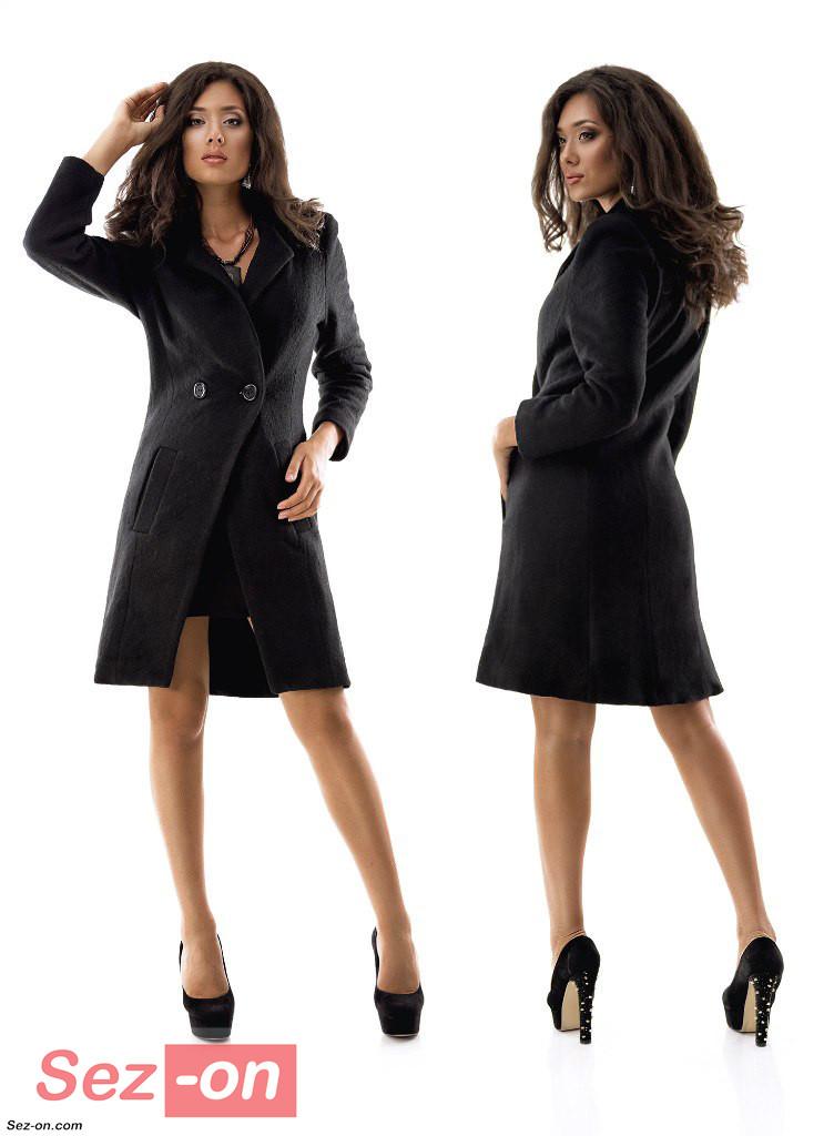 Пальто жіноче до колін з кишенями ― Чорний