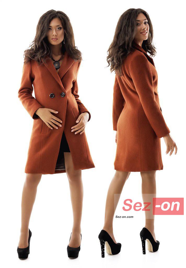 Пальто жіноче до колін з кишенями ― Теракотовий