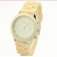 Оригинальные стильные женские часы GENEVA Luxury, бежевые