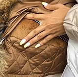 Бежевая куртка парка с натуральным мехом лисы на капюшоне, фото 4