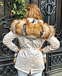 Бежевая куртка парка с натуральным мехом лисы на капюшоне, фото 2