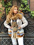 Бежевая куртка парка с натуральным мехом лисы на капюшоне, фото 3