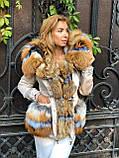 Бежевая куртка парка с натуральным мехом лисы на капюшоне, фото 5