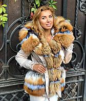 Бежевая куртка парка с натуральным мехом лисы на капюшоне, фото 1