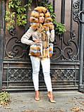 Бежевая куртка парка с натуральным мехом лисы на капюшоне, фото 6