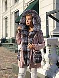 Бежевая куртка парка с натуральным мехом лисы на капюшоне, фото 7