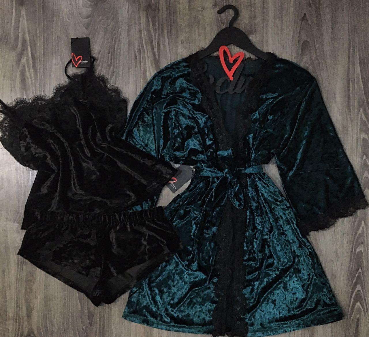 Велюровая пижама майка+шорты и халат-комплект домашней одежды.