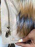 Бежевая куртка парка с натуральным мехом лисы на капюшоне, фото 10