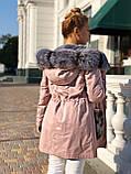 Розовая куртка парка с натуральным мехом чернобурки на капюшоне, фото 3