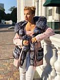 Розовая куртка парка с натуральным мехом чернобурки на капюшоне, фото 2