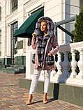 Розовая куртка парка с натуральным мехом чернобурки на капюшоне, фото 7
