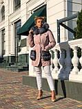 Розовая куртка парка с натуральным мехом чернобурки на капюшоне, фото 10