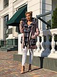 Розовая куртка парка с натуральным мехом чернобурки на капюшоне, фото 9