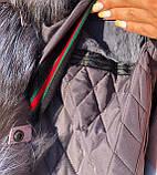 Розовая куртка парка с натуральным мехом чернобурки на капюшоне, фото 6