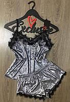 Велюровый комплект майка и шорты с кружевом 049, пижамы женские.
