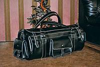 Большая спортивная сумка, Кожаная черная дорожная сумка бочонок, фото 1