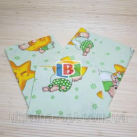Детское сменное постельное белье в кроватку 3в1 Зеленый