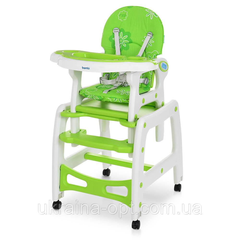 Стульчик для кормления 3в1. Трансформер. Столик+стульчик+качеля. Bambi M 1563-11 Зелено-белый