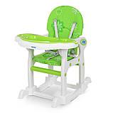 Стульчик для кормления 3в1. Трансформер. Столик+стульчик+качеля. Bambi M 1563-11 Зелено-белый, фото 3