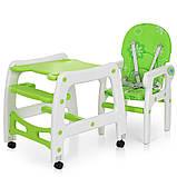 Стульчик для кормления 3в1. Трансформер. Столик+стульчик+качеля. Bambi M 1563-11 Зелено-белый, фото 4