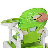 Стульчик для кормления 3в1. Трансформер. Столик+стульчик+качеля. Bambi M 1563-11 Зелено-белый, фото 6
