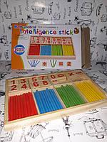 Деревянные счёты  KXM-533 счетные палочки, цифры, в коробке 24*2,5*16см