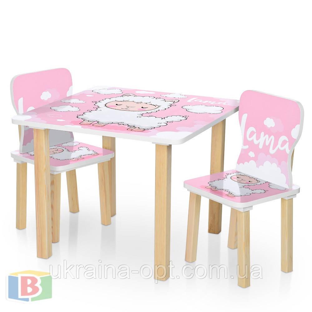 Детская парта со стульчиками. Дерево. Размер столика ДхШхВ: 60х60х49 см False, для учеников, Розовая лама