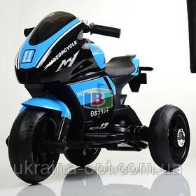 Електромотоцикл дитячий триколісний. MP3. Два мотора 25W, два акумуляторів 6V4AH. Bambi M 4135L-7 Блакитний