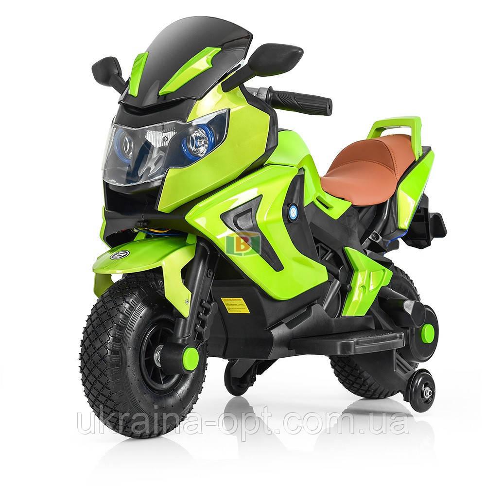 Детский электромотоцикл. Световые и звуковые эффекты. USB,TF. Bambi M 3681AL-6 Зеленый