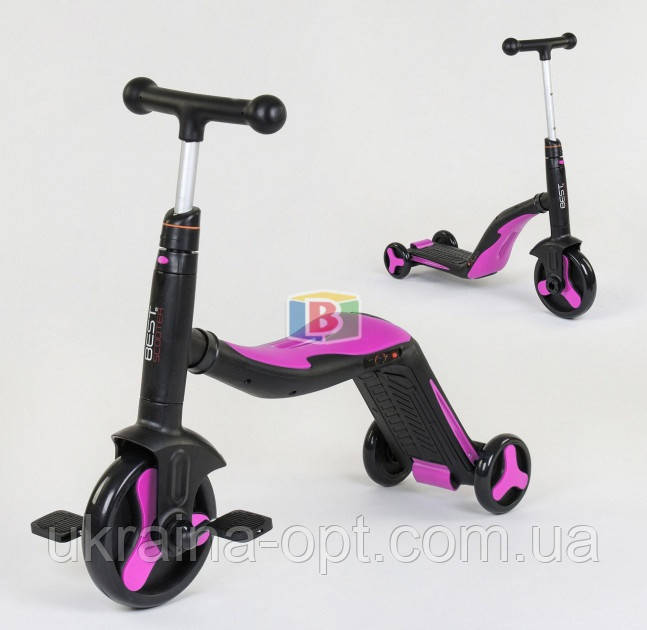 Детский самокат 3в1. Трансформация в велосипед и самокат. Звуковые и световые эффекты. JT 10993 Розовый