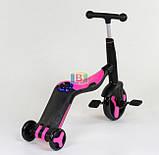 Детский самокат 3в1. Трансформация в велосипед и самокат. Звуковые и световые эффекты. JT 10993 Розовый, фото 3