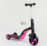Детский самокат 3в1. Трансформация в велосипед и самокат. Звуковые и световые эффекты. JT 10993 Розовый, фото 4