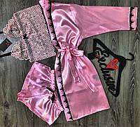 Розовый комплект халат+пижама (кружевной бюстгальтер и шорты).