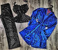 Велюровый комплект домашней одежды пижама с штанами и халат 084-010.