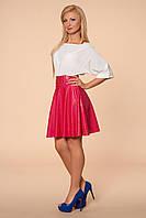 Женское стильное платье с кожаной юбкой в модных расцветках