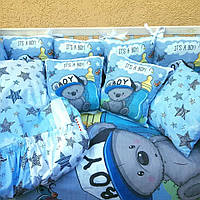 Комплект в детскую кроватку 8в1 Спальный комплект для мальчика
