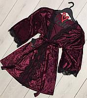Вишневый велюровый халат с кружевом для дома ТМ Exclusive 082-1, женские халаты.