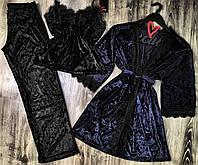 Халат+пижама (майка и штаны) набор одежды для сна и отдыха  082-010.