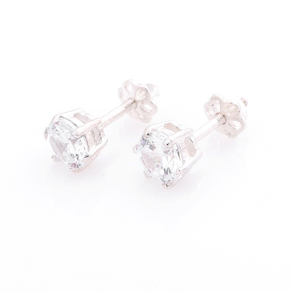 Серебряные серьги-гвоздики с фианитами 6мм - R131533