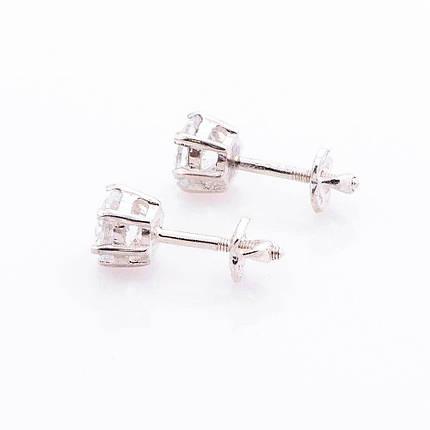Серебряные серьги-гвоздики с фианитами 6мм - R131533, фото 2