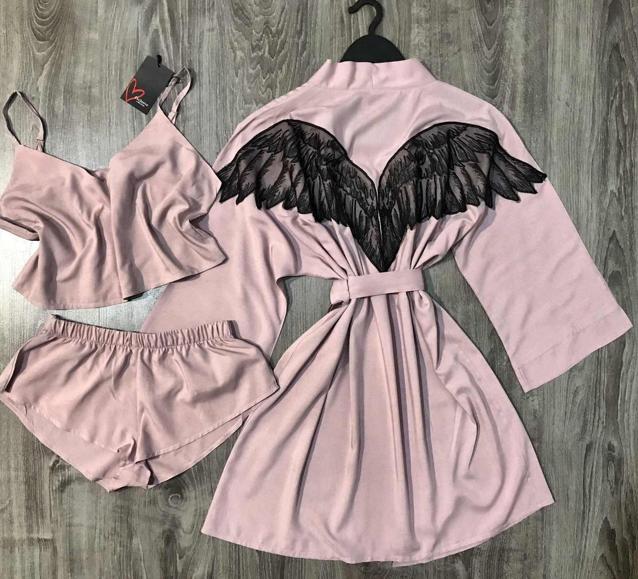 Хлопковый комплект домашней одежды халат+топ+шорты.