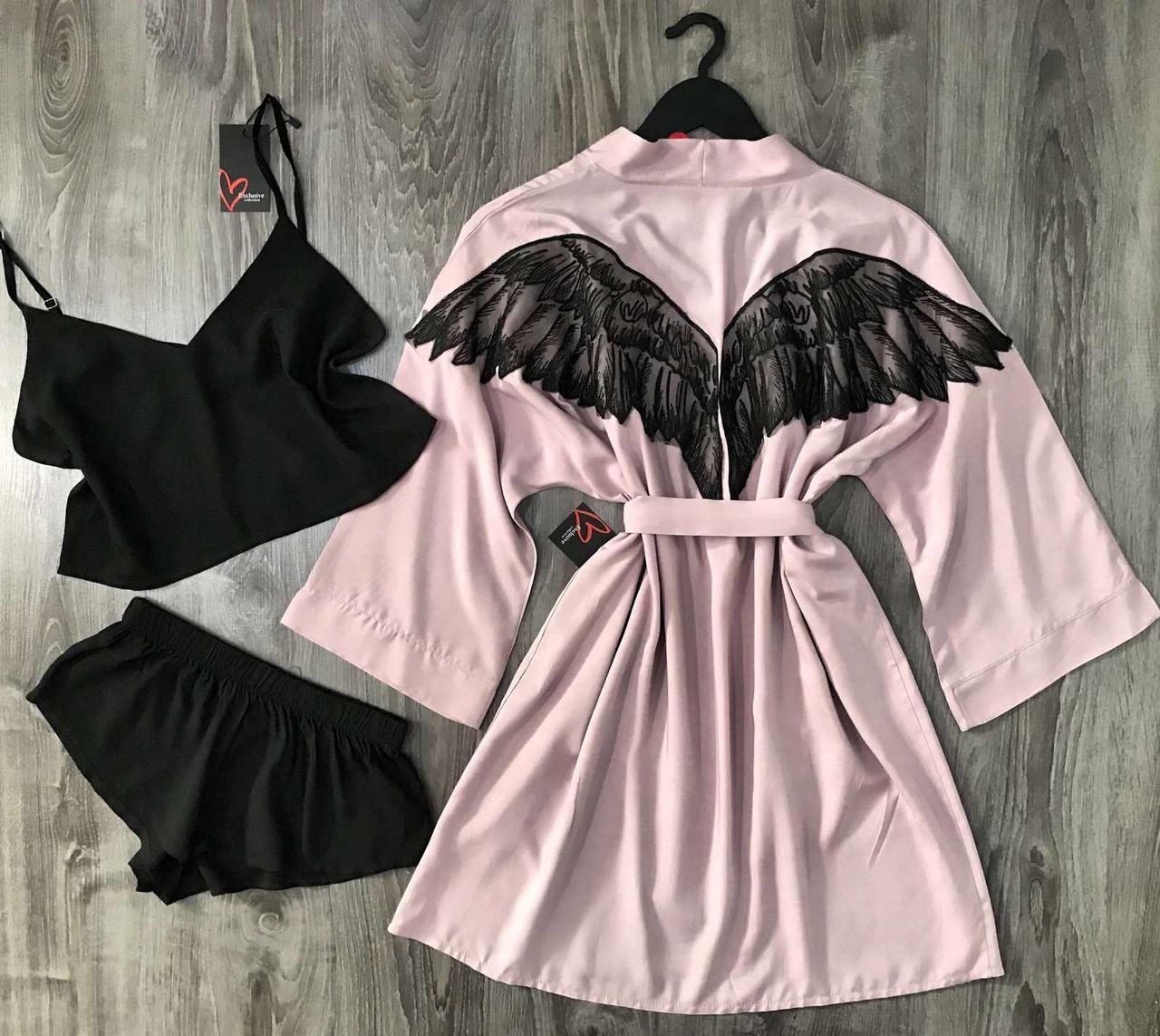 Модный комплект домашней одежды халат+топ+шорты.