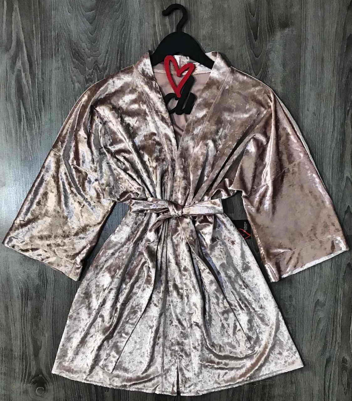 Велюровый женский халат 084-пудра.